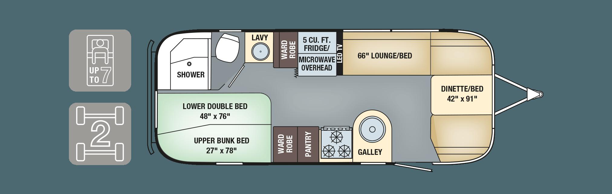 2017 Airstream Flying Cloud 23D Bunk Floorplan