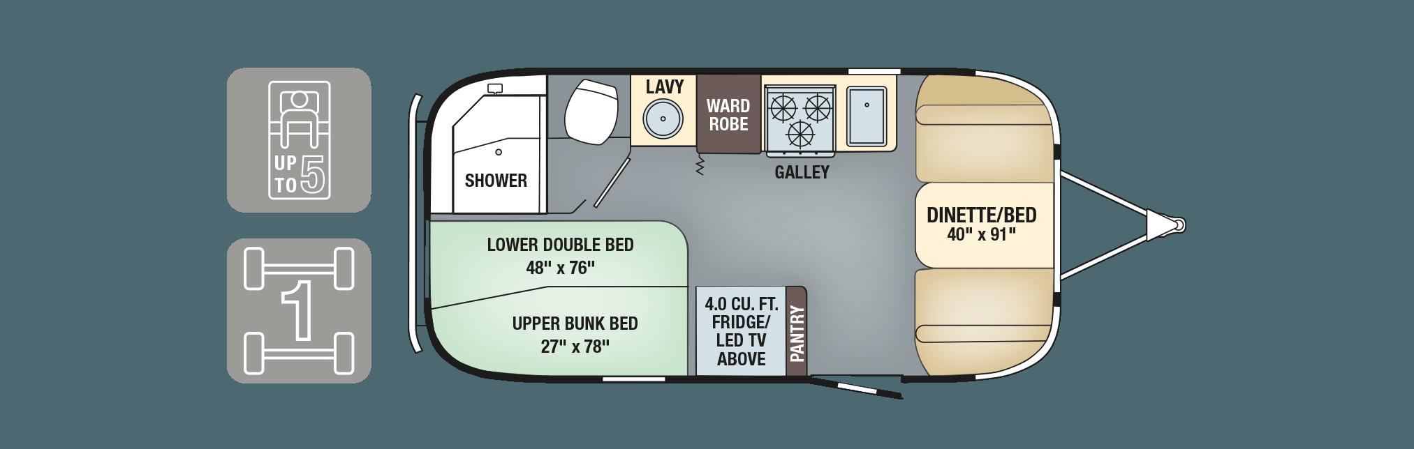 2017 Airstream Flying Cloud 19 Bunk Floorplan