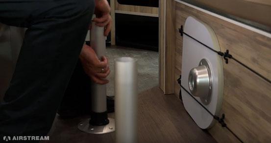 Airstream Basecamp Insert Bed Legs Into Floor Sockets