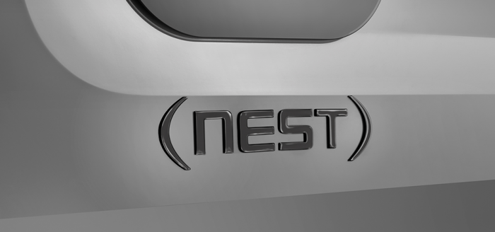 Nest by Airstream exterior badge up close