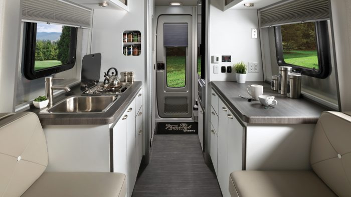 Nest by Airstream wingspan white cups interior floor plan galley