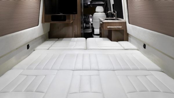 Airstream Interstate Nineteen Mercedes Benz white leather bed down