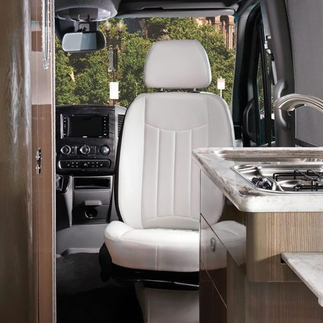 Airstream Interstate Nineteen Mercedes Benz white front swivel chair interior
