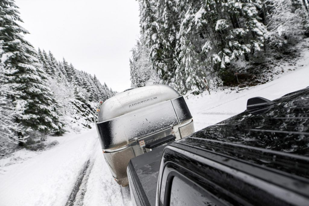 Towing Airstream Travel Trailer in Snow
