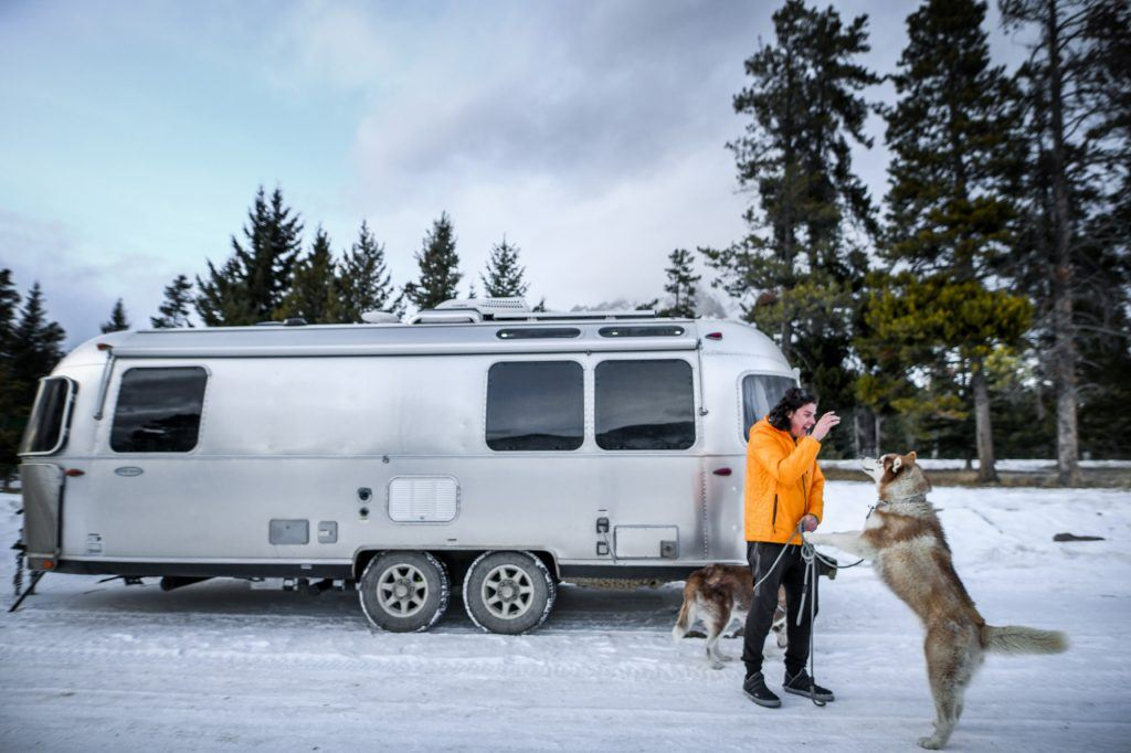 Airstream Travel Trailer Snow